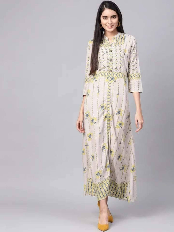 Charming White And Green Colour Viscose Rayon Kurti Gown