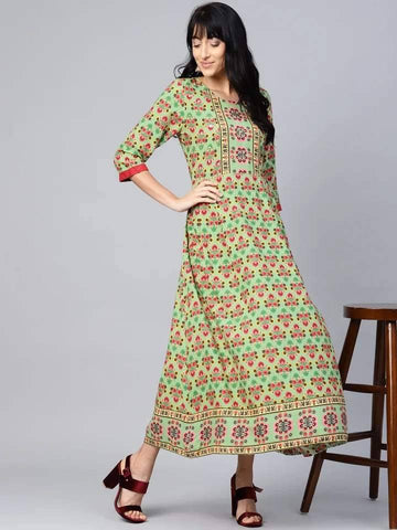 Captivating Red And Green Colour Viscose Rayon Kurti Gown