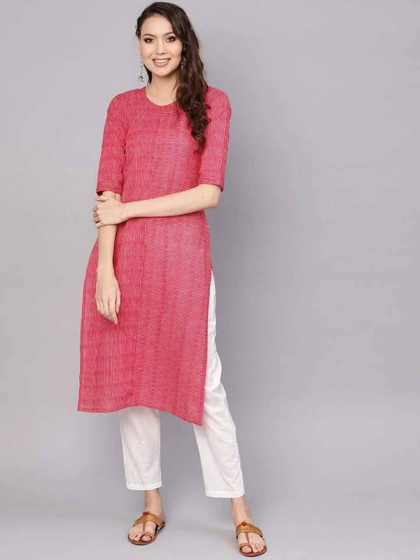Delightful Pink Colored Cotton Palazzo Suit