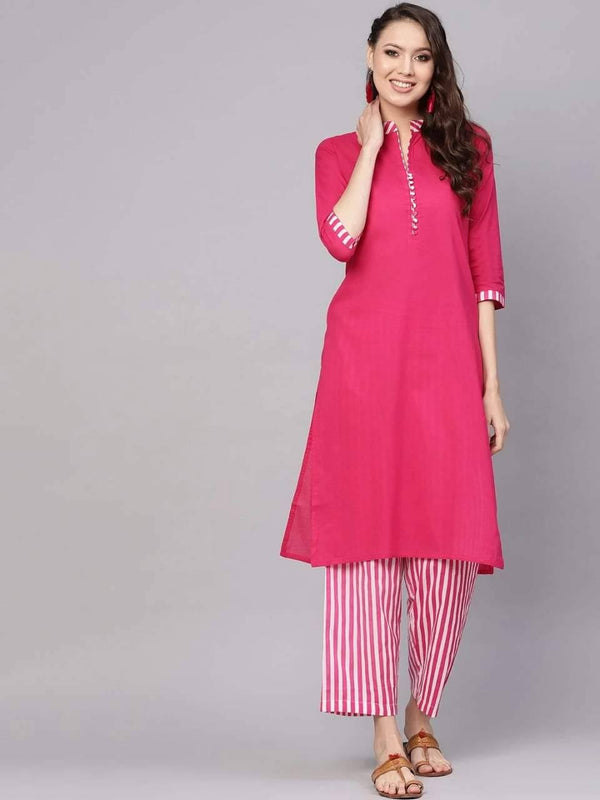 Wonderful Pink Colored Cotton Palazzo Suit