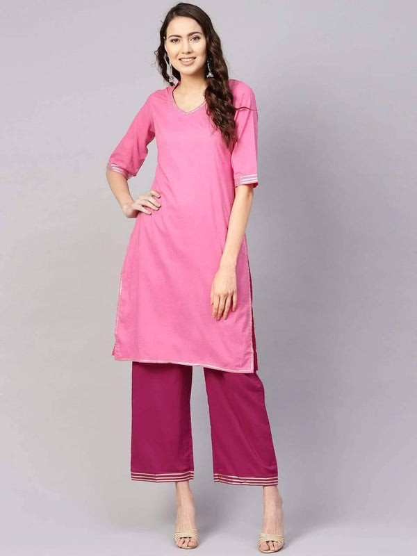 Divine Pink Colored Cotton Palazzo Suit