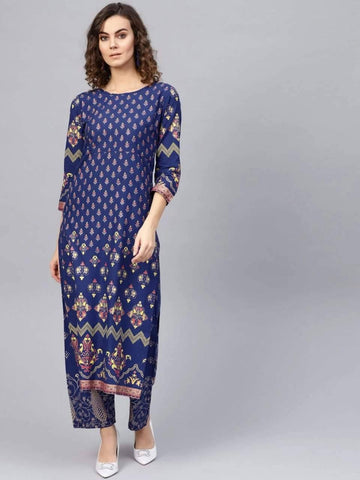 Opulent Indigo Colored Cotton Palazzo Suit