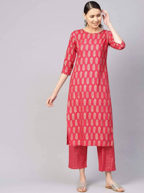 Adorable Pink Colored Cotton Palazzo Suit