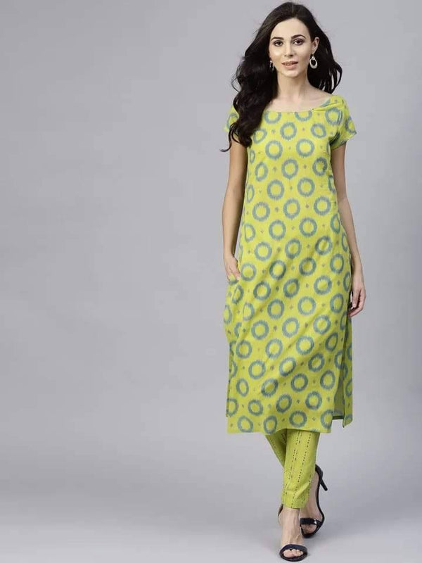 Charming Green Colored Cotton Palazzo Suit