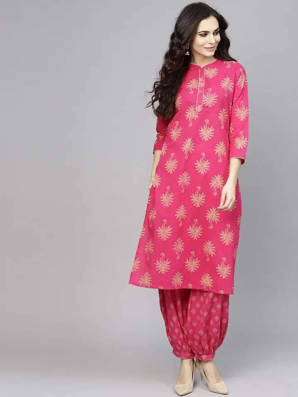 Charming Pink Colored Cotton Palazzo Suit