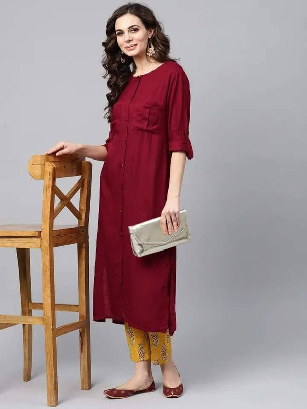 Enticing Maroon Colored Cotton Palazzo Suit