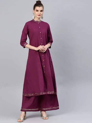 Glamorous maroon Colored Cotton Palazzo Suit