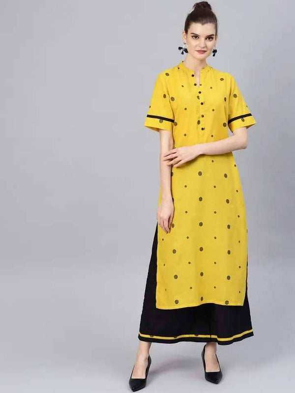Bright Yellow Colored Cotton Palazzo Suit