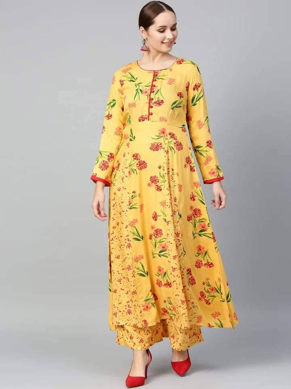 Delightful Yellow Colored Cotton Palazzo Suit