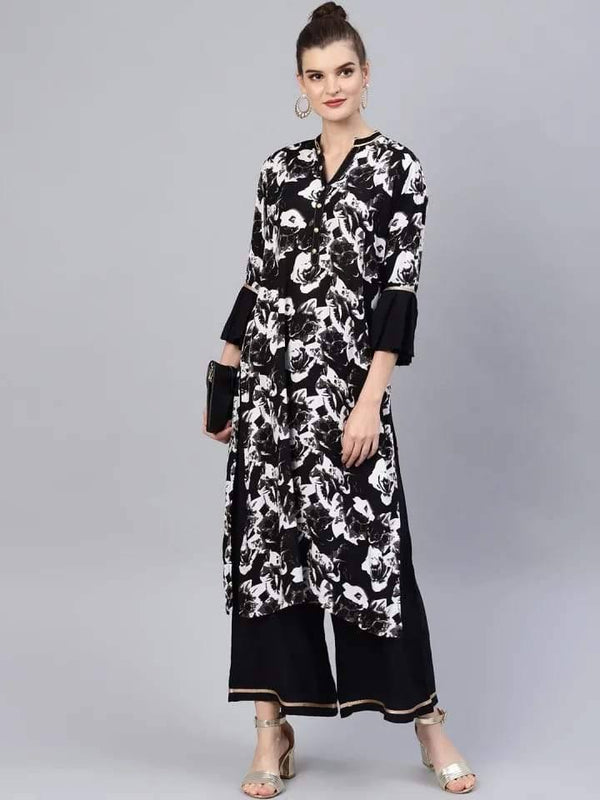 Stunning Black And White Colored Cotton Palazzo Suit