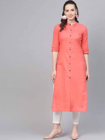 Fascinating Light Coral Colored Cotton Palazzo Suit