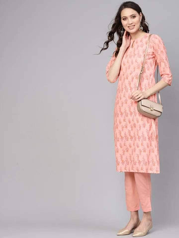 Fashionable Salmon Colored Cotton Palazzo Suit
