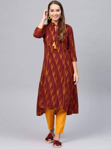 Delicate Brown Colored Cotton Palazzo Suit