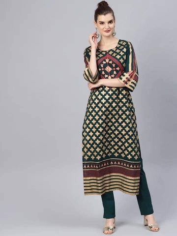 Captivating Dark Green Colored Cotton Palazzo Suit