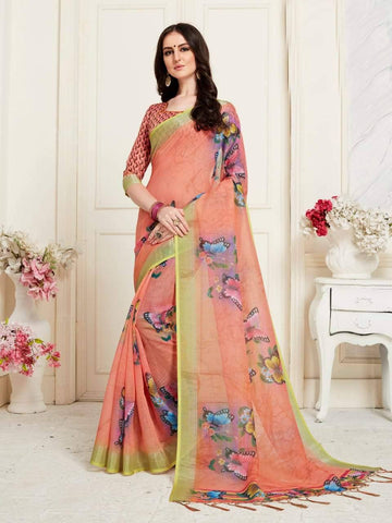 Light Salmon Colour Designer Digital Printed Handloom Linen Saree