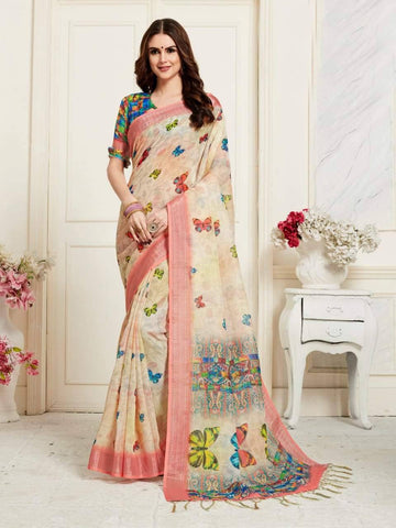 Cream Colour Designer Digital Printed Handloom Linen Saree