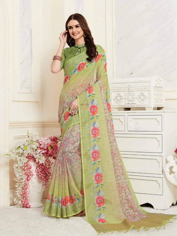 Green Colour Designer Digital Printed Handloom Linen Saree