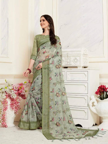 Dark Green Colour Designer Digital Printed Handloom Linen Saree