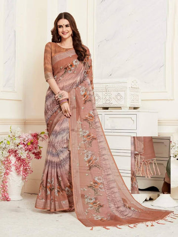 Brown Colour Designer Digital Printed Handloom Linen Saree