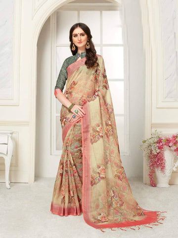 Wheatish Cream Colour Designer Digital Printed Handloom Linen Saree