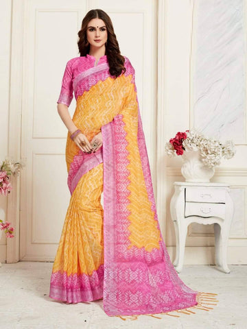 Yellow And Pink Coloured Designer Digital Printed Handloom Linen Saree