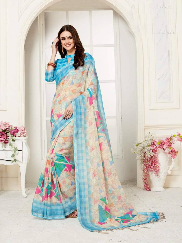 Blue And Cream Coloured Designer Digital Printed Handloom Linen Saree