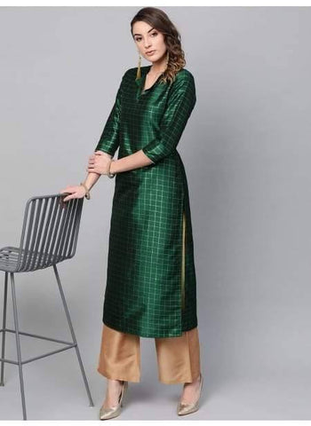 Dazzling Dark Green Colored Cotton Palazzo Suit