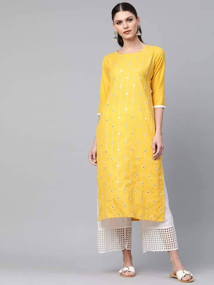 Adorable Yellow Colored Cotton Kurti