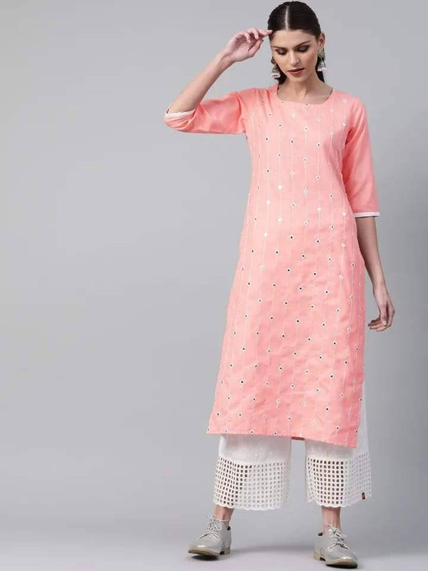 Fascinating Pink Colored Cotton Kurti