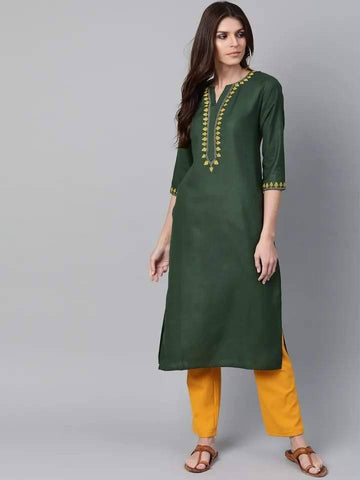 Engaging Olive Colored Cotton Kurti