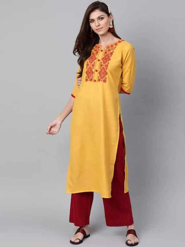 Exquisite Yellow Colored Cotton Kurti