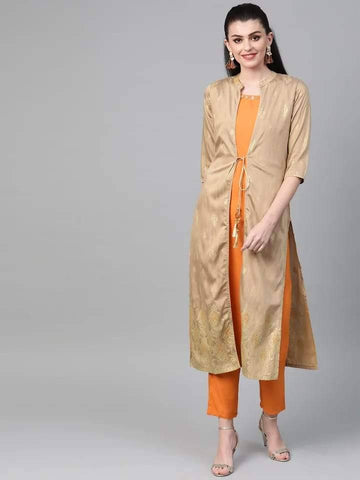 Cherubic Orange Colored Cotton Pant Set