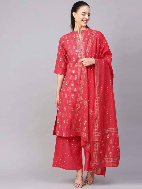 Outstanding Readymade Red Colored Cotton Palazzo Set