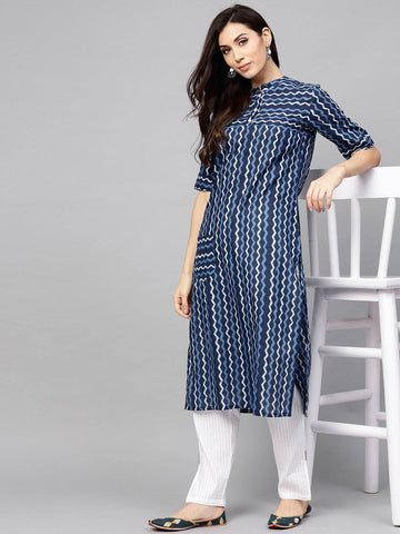 Blue Cotton Make to Order Kurti
