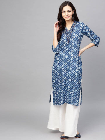 Blue Cotton Make to Order Printed Kurti