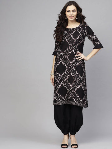 Black Colour Make To Order Kurta Set