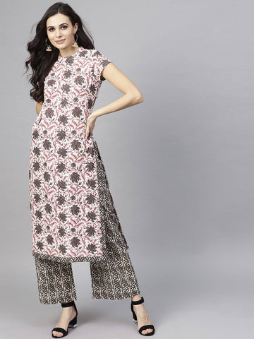 Black and Red Printed Make to Order Kurta Set