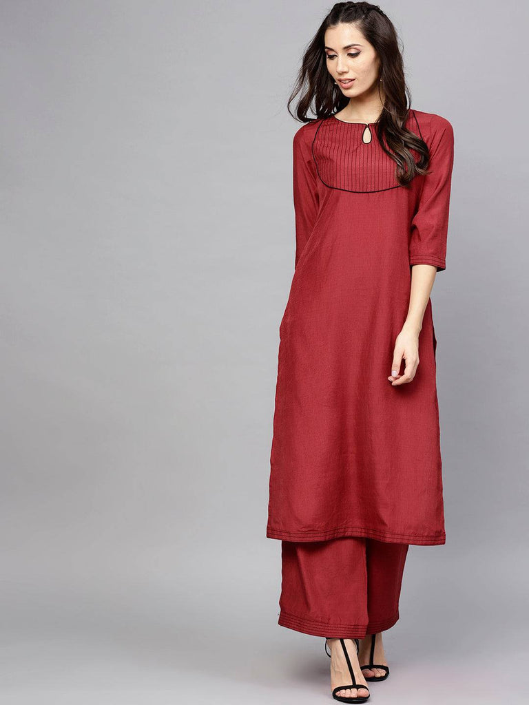 Maroon Colour Make to Order Kurta Set