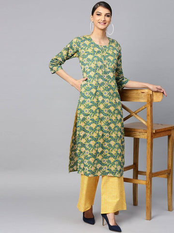 Green/Yellow Printed Palazzo Kurta Set
