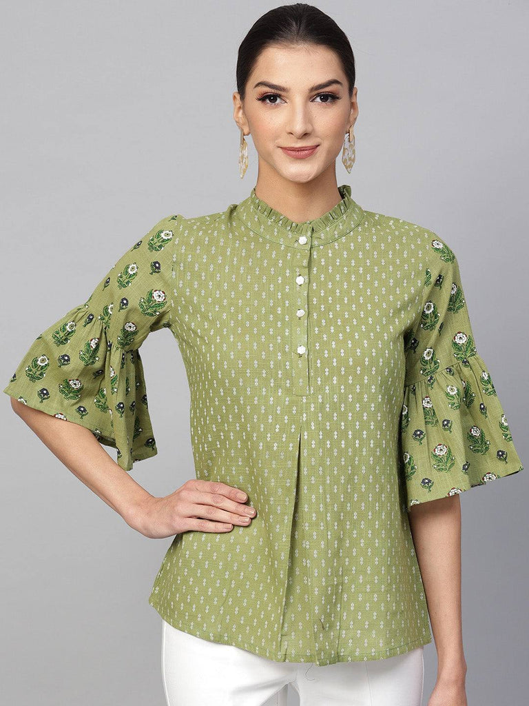Turquoise Printed Colour Make To Order Kurti/Tunic