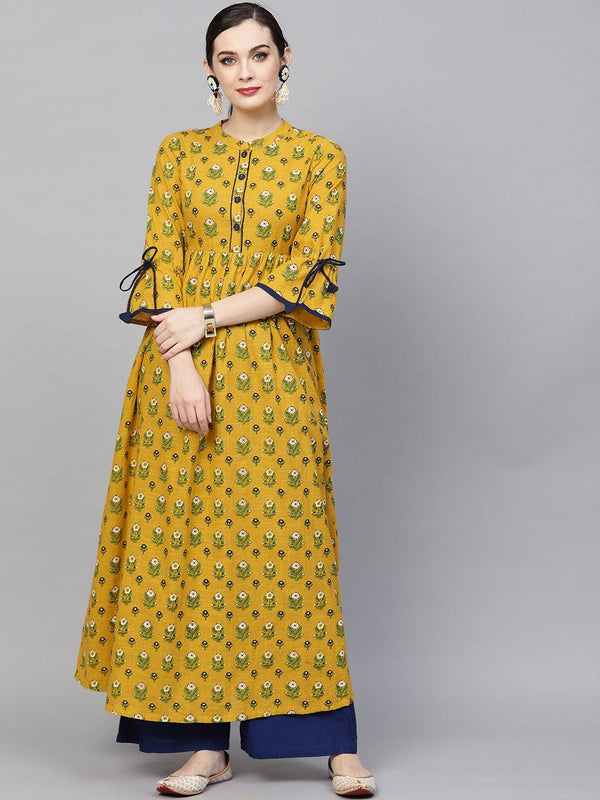 Yellow Printed Colour Make To Order Kurti/Tunic