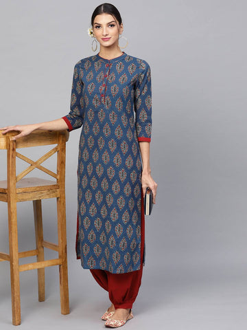 Blue Printed Colour Make To Order Kurti/Tunic