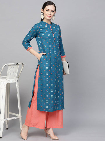 Blue Colour Printed Colour Make To Order Kurti/Tunic