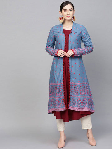 Aqua Colour Printed Colour Make To Order Kurti/Tunic