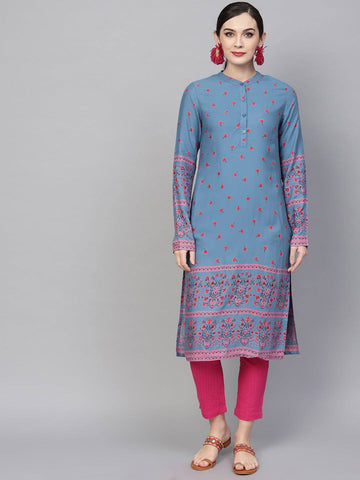 Light Blue Colour Printed Colour Make To Order Kurti/Tunic
