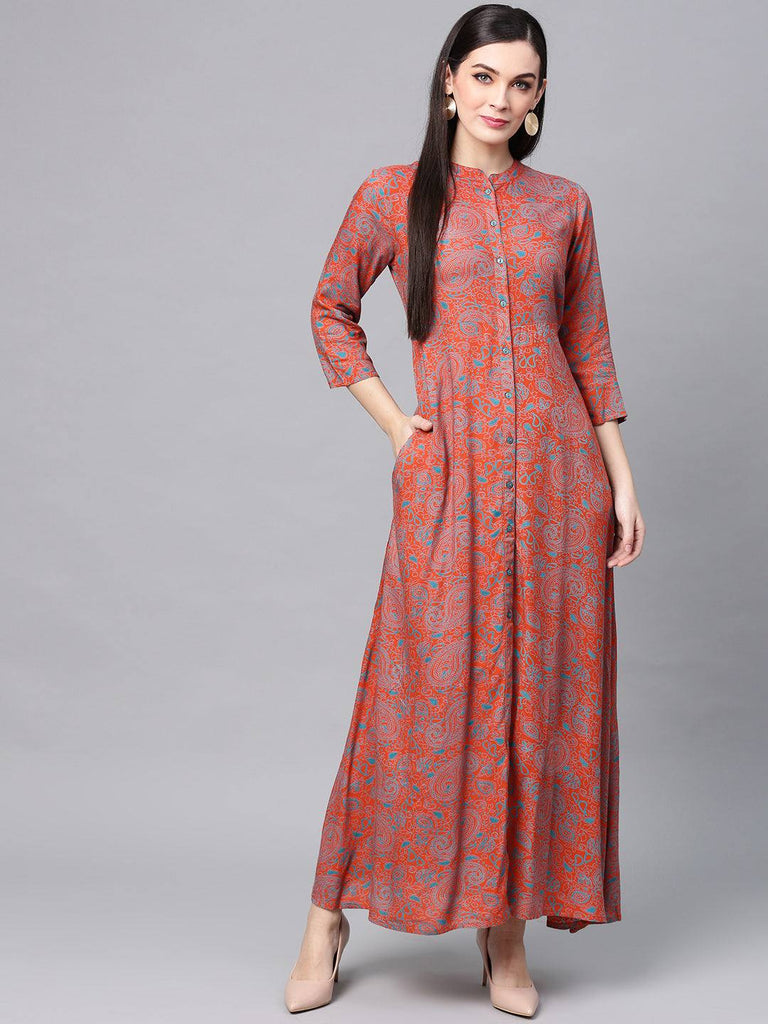 Orange Colour Make To Order Kurti/Tunic