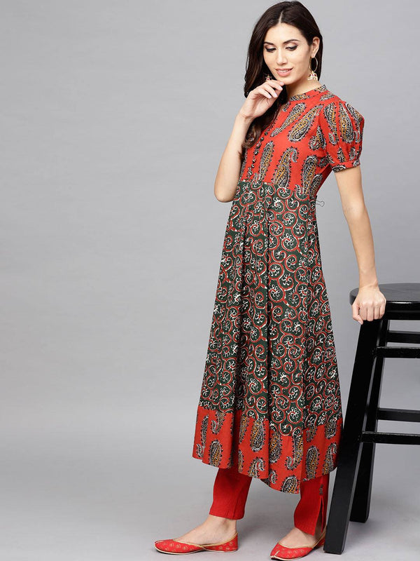 Readymade Green & Orange Coloured Make To Order Cotton Kurti