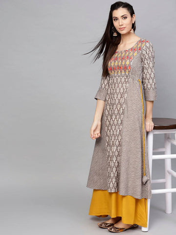 Brown Coloured Make To Order Printed Dress