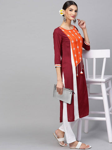 Wine Colour Printed Colour Make To Order Kurti/Tunic