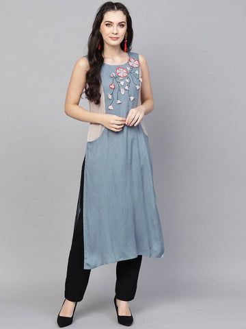 Light Grey Colour Printed Colour Make To Order Kurti/Tunic